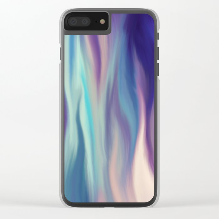 Painted digital silk texture blue colors Clear iPhone Case