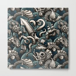 Sea Monsters Metal Print
