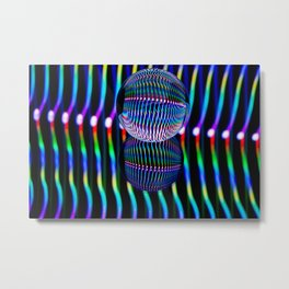 Vertical colours in the glass ball. Metal Print