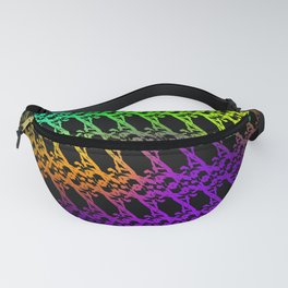 Royal pattern of neon squiggles and violet ropes on a black background. Fanny Pack