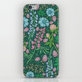 Violet clover and lupine among cornflowers and herbs iPhone Skin