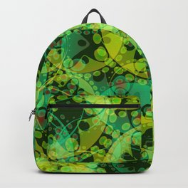 Spring pastels gently pearl and lemon circles and green ellipses with the image of abstract flowers Backpack