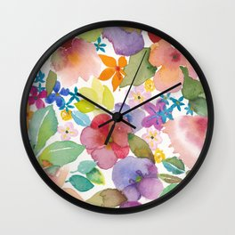 Spring Flower Watercolor Wall Clock