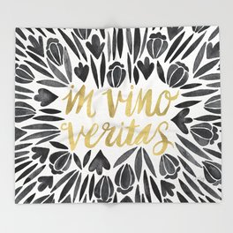 In Wine, There is Truth – Black & Gold Throw Blanket