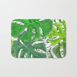 PALM LEAF B0UNTY GREEN AND WHITE Bath Mat