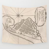 jamaica Wall Tapestries featuring Vintage Map of Port Royal Jamaica (1764) by BravuraMedia