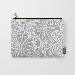 Marigold Lino Cut, Cloud Grey Carry-All Pouch