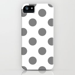 Large Polka Dots - Gray on White iPhone Case