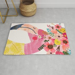 Pink flamingo with flowers on head Rug