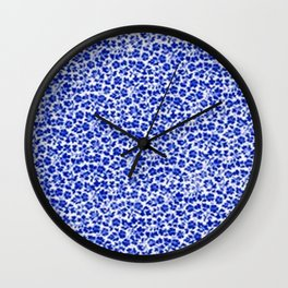 Sapphire Blue Vintage Flowers Wall Clock