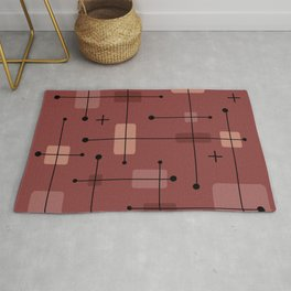 Rounded Rectangles Squares Brick Red Rug