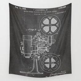 Film Projector Patent - Cinema Art - Black Chalkboard Wall Tapestry