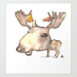 NORDIC ANIMAL - MURIAL THE MOOSE / ORIGINAL DANISH DESIGN bykazandholly  Art Print