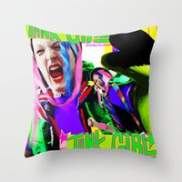tank girl Throw Pillows featuring Tank Girl Lucy by sorshag