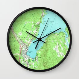 Vintage Map of Lake George New York (1966) Wall Clock