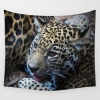 jaguar Wall Tapestries featuring Jaguar Cub by Roger Wedegis