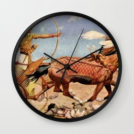 "Classical Masterpiece ""Egyptian King Tut on Chariot"" by Herbert Herget Wall Clock"