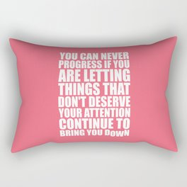 Lab No. 4 - You Can Never Progress If You Are Letting Things Gym Inspirational Quotes Poster Rectangular Pillow