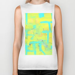 Abstract Slices Yellow Blue Green Biker Tank
