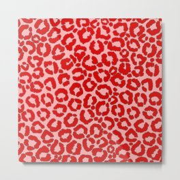 Bold Modern Red Pink Leopard Animal Print Metal Print
