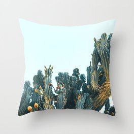Teal Cactus Throw Pillow