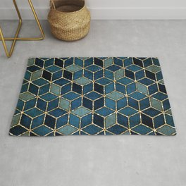 Shades Of Turquoise Green & Blue Cubes Pattern Rug