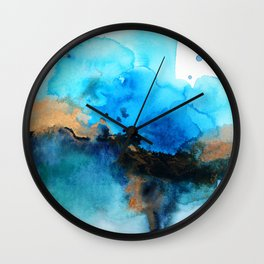 Blue gold flow abstract Wall Clock