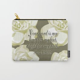 Scripture Gray,White Rose Carry-All Pouch