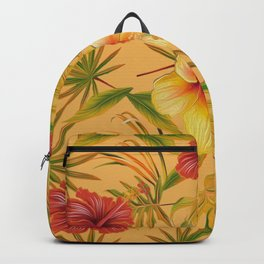 Leave And Flowers Pattern Backpack