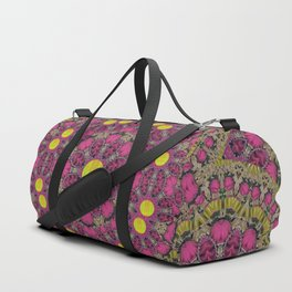 Butterflies  roses in gold spreading calm and love Duffle Bag