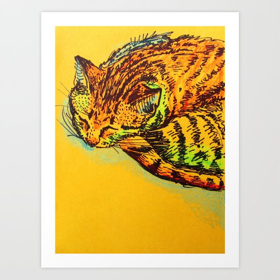Cat Shimmie (ochre paper)  Art Print