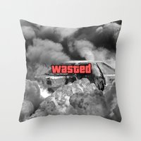 gta Throw Pillows featuring Wasted GTA by JOlorful