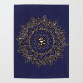 Om Symbol and Mandala in Spiritual Gold Purple Blue Violet Poster
