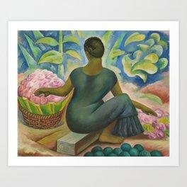 Vendedora de Flores En Xochimilco by Diego Rivera Art Print