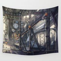 industrial Wall Tapestries featuring Industrial District by Nigel Goh