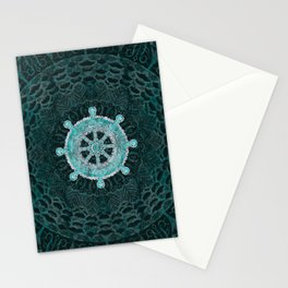 Dharma Wheel - Dharmachakra Silver and turquoise Stationery Cards