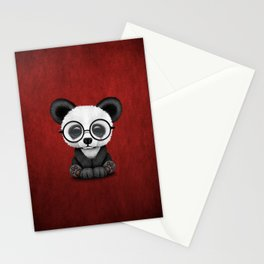 Cute Panda Bear Cub with Eye Glasses on Red Stationery Cards