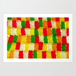 Colorful gummi bears Art Print
