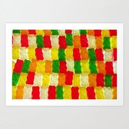 Colorful gummi bears Art Print