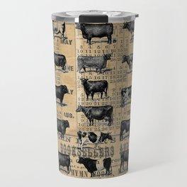 Vintage 1896 Cows Study on Antique Lancaster County Almanac Travel Mug