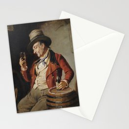 Old Man Drinking Beer Painting Stationery Cards
