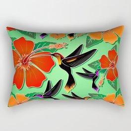 Hummingbird and Hibiscus Batik Pattern Rectangular Pillow