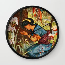 The Girl with the Wooden Helmet Wall Clock