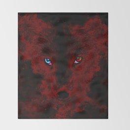 arctic fox bicolor eyes ws sub Throw Blanket