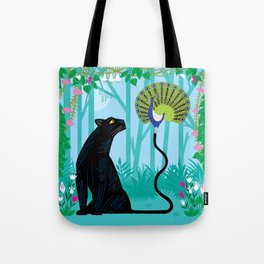 The Peacock and The Panther Tote Bag
