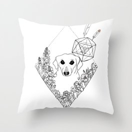 Geometric Dachshund Garden Throw Pillow