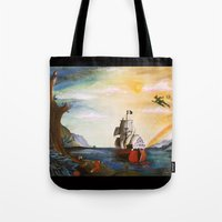 neverland Tote Bags featuring Neverland by Art by Terrauh
