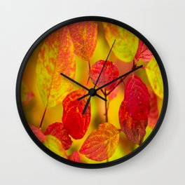Red autumn leaves #decor #society6 Wall Clock