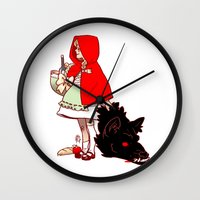 red hood Wall Clocks featuring Little Red Hood by Madeoftin