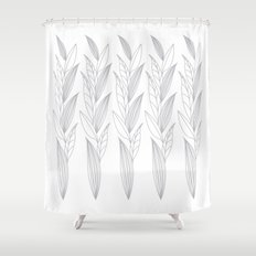 Growing Leaves: Silver Gray – White background Shower Curtain
